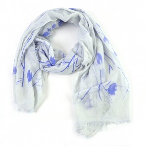 Ivory White Branches and Leaves Insect Shield Scarf by Tickled Pink