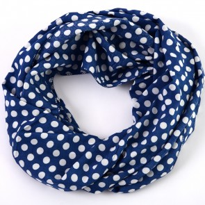 Blue Cheerful Polka Dot Infinity Scarf by Tickled Pink