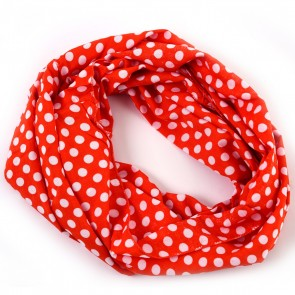 Orange Cheerful Polka Dot Infinity Scarf by Tickled Pink