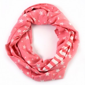 Coral Pink Stars and Stripes Infinity Scarf by Tickled Pink