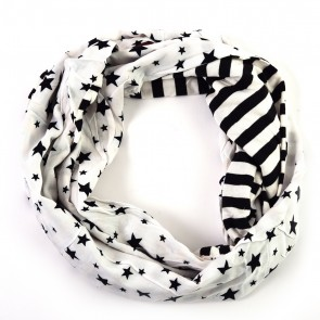 Monochrome Stars and Stripes Infinity Scarf by Tickled Pink