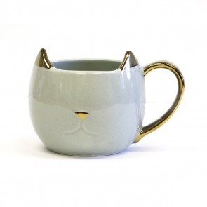 Pinky Up 'Chloe' Ceramic Cat Mug - Grey
