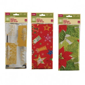 Printed Metallic Gift Wrap - Assorted