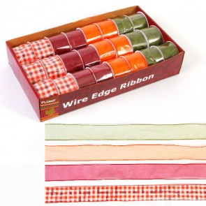 FLOMO Autumn and Fall Chiffon Wire Edge Ribbon - Gingham