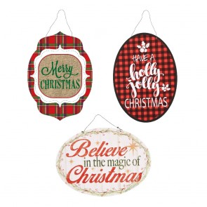 Christmas Typography Plaid Hanging Holiday Decorations by Holiday Essentials