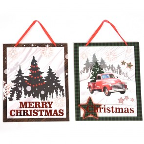 Lodge Express Pickup Truck Plaid Christmas Hanging Sign by Holiday Essentials