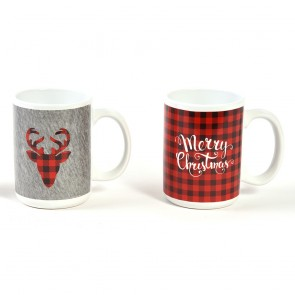 Plaid Merry Christmas Mugs by Holiday Essentials