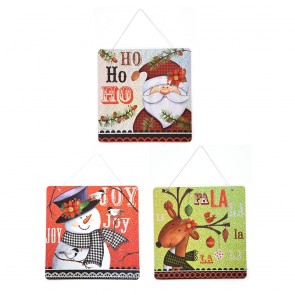 Christmas Icons Plaid Hanging Holiday Decorations by Holiday Essentials