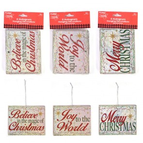 Hologram Typography Christmas Ornaments by Holiday Essentials