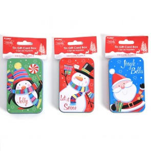 Christmas Holiday Tin Gift Card Box by Holiday Essentials