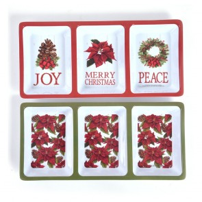 Classic Traditional Festive 3-Section Serving Tray by Holiday Essentials