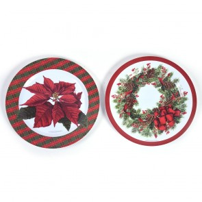 Classic Traditional Festive Round Plate by Holiday Essentials