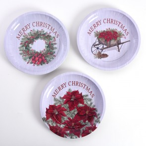 Classic Traditional Christmas Round Tin Tray by Holiday Essentials