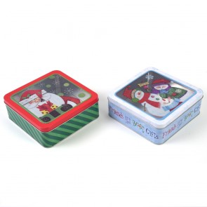 Christmas Holiday Tin Box with PVC Window by Holiday Essentials
