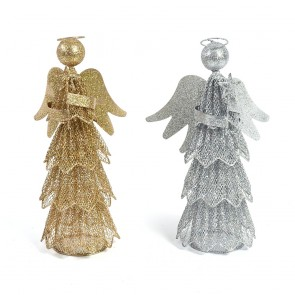 Wire Glitter Christmas Angel Tree Topper Standing Decoration by Holiday Essentials
