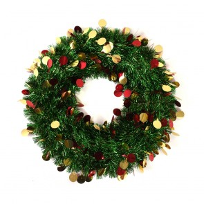 Green Tinsel Christmas Wreath with Round Icons by Holiday Essentials