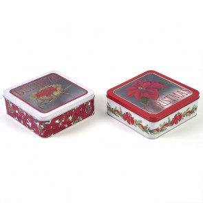 Classic Traditional Christmas Tin Box with PVC Window by Holiday Essentials