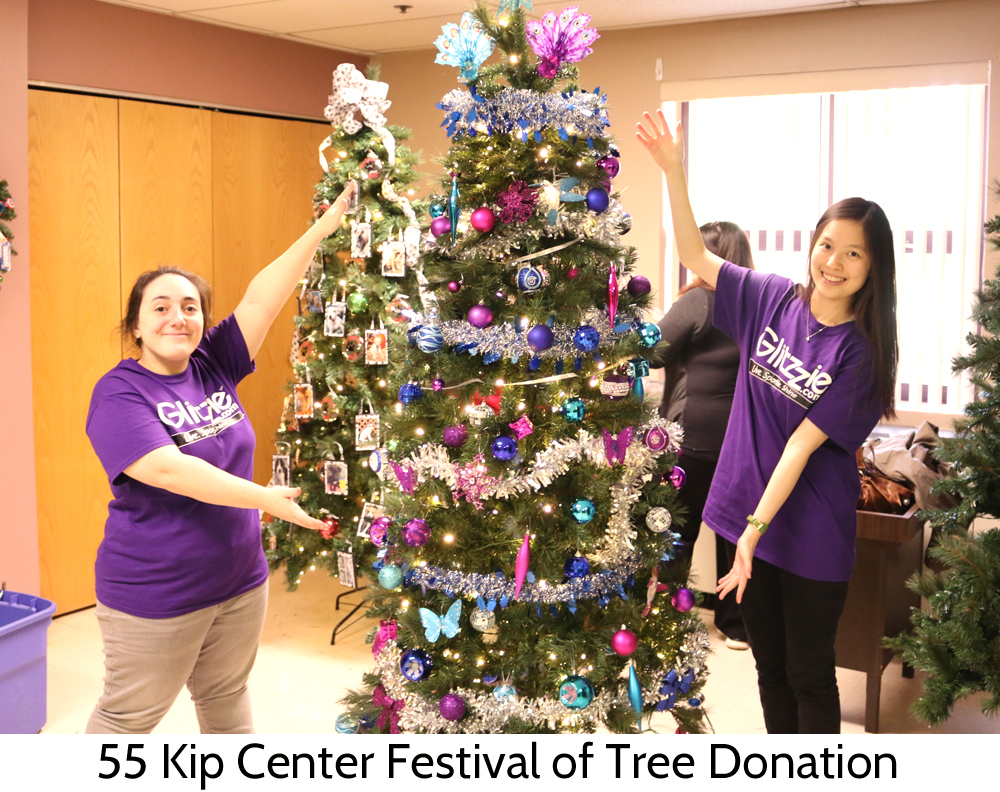 Tang Tang and Caitlin of Glitzzie stop by 55 Kip Center in Rutherford New Jersey to decorate a tree for donation!