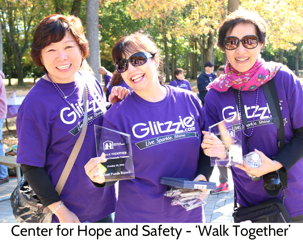Wendy, Tina, and Minnie at the Center for Hope and Safty Walk Together event in Paramus New Jersey representing Glitzzie.com