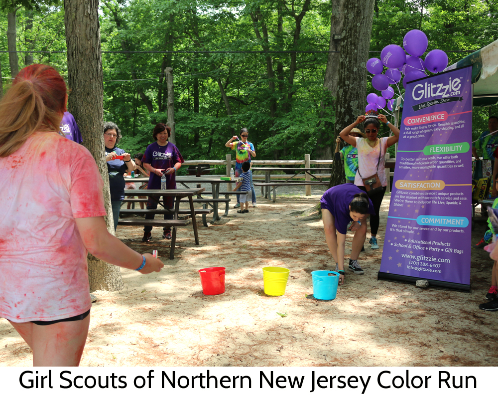 Glitzzie at the Girl Scout of Northern New Jersey's color run!
